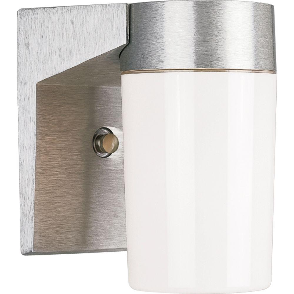 Progress Lighting Hard-Nox Collection 1-Light Outdoor Satin Aluminum Wall Lantern