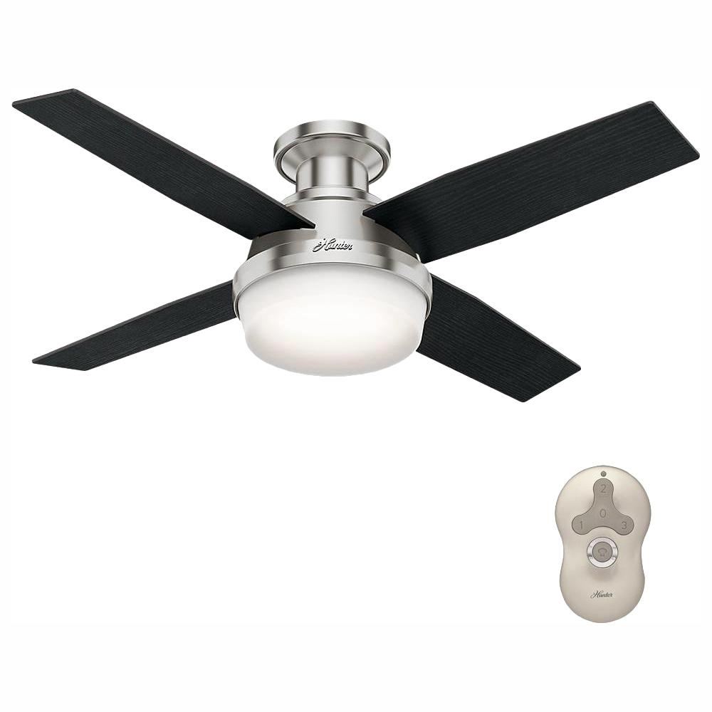 Hunter Dempsey 44 in. Low Profile LED Indoor Brushed Nickel Ceiling Fan with Light Kit and Universal Remote