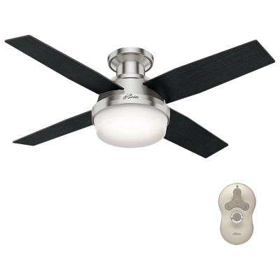 Dempsey 44 in. Low Profile LED Indoor Brushed Nickel Ceiling Fan with Light Kit and Universal Remote