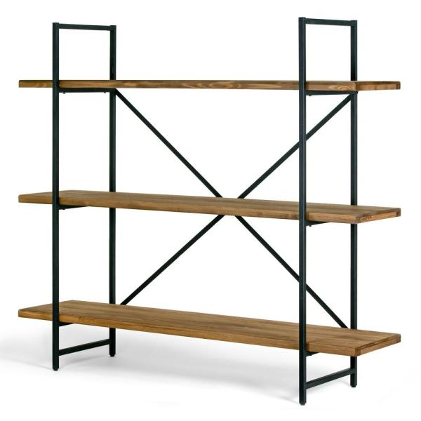 Ailis 56 in. Brown Pine Wood Metal Frame Etagere 3-Wide Shelf Bookcase Media Center