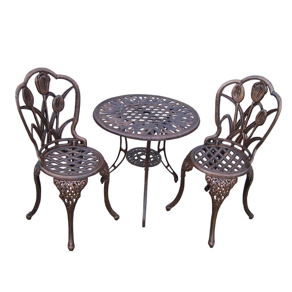 oakland living tulip 3 piece cast aluminum patio bistro set with 26 in table and 2 chairs. Black Bedroom Furniture Sets. Home Design Ideas