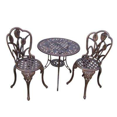 Tulip 3-Piece Cast Aluminum Patio Bistro Set with 26 in. Table and 2 Chairs