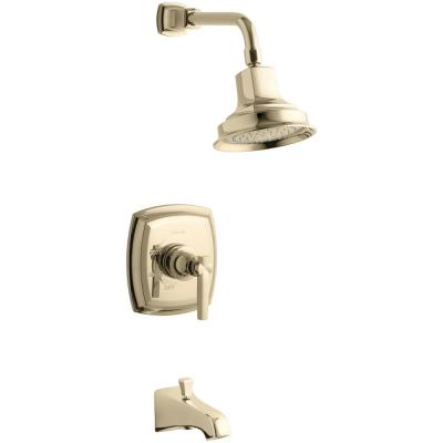Margaux Single-Handle 1-Spray 2.5 GPM Tub and Shower Faucet with Lever Handle in Vibrant French Gold