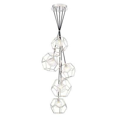 Norway 25-Watt Chrome Chandelier Integrated LED with Hand Made Ice Glass Shade