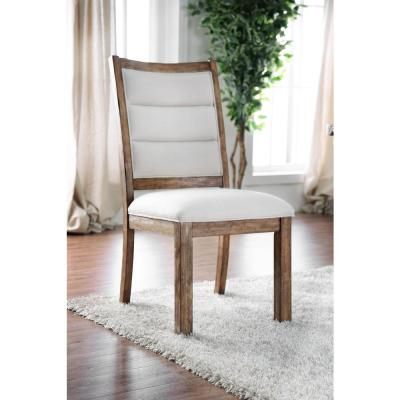 Mandy Oak and Ivory Rustic Style Side Chair