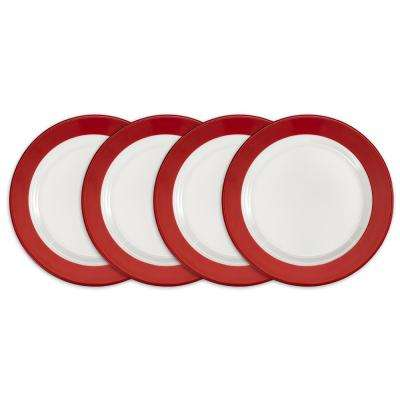 Bistro 4-Piece Red Melamine Salad Plate Set