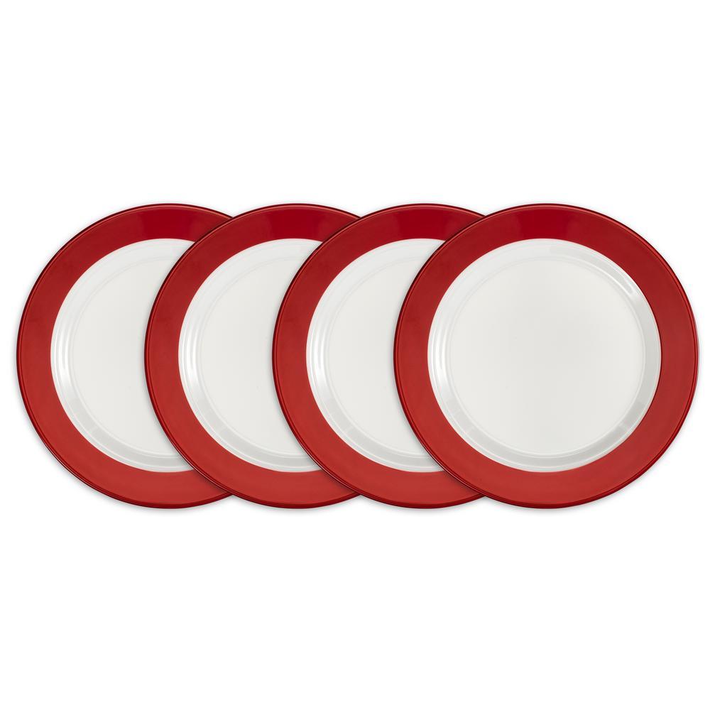 Bistro 4-Piece Red Melamine Salad Plate Set