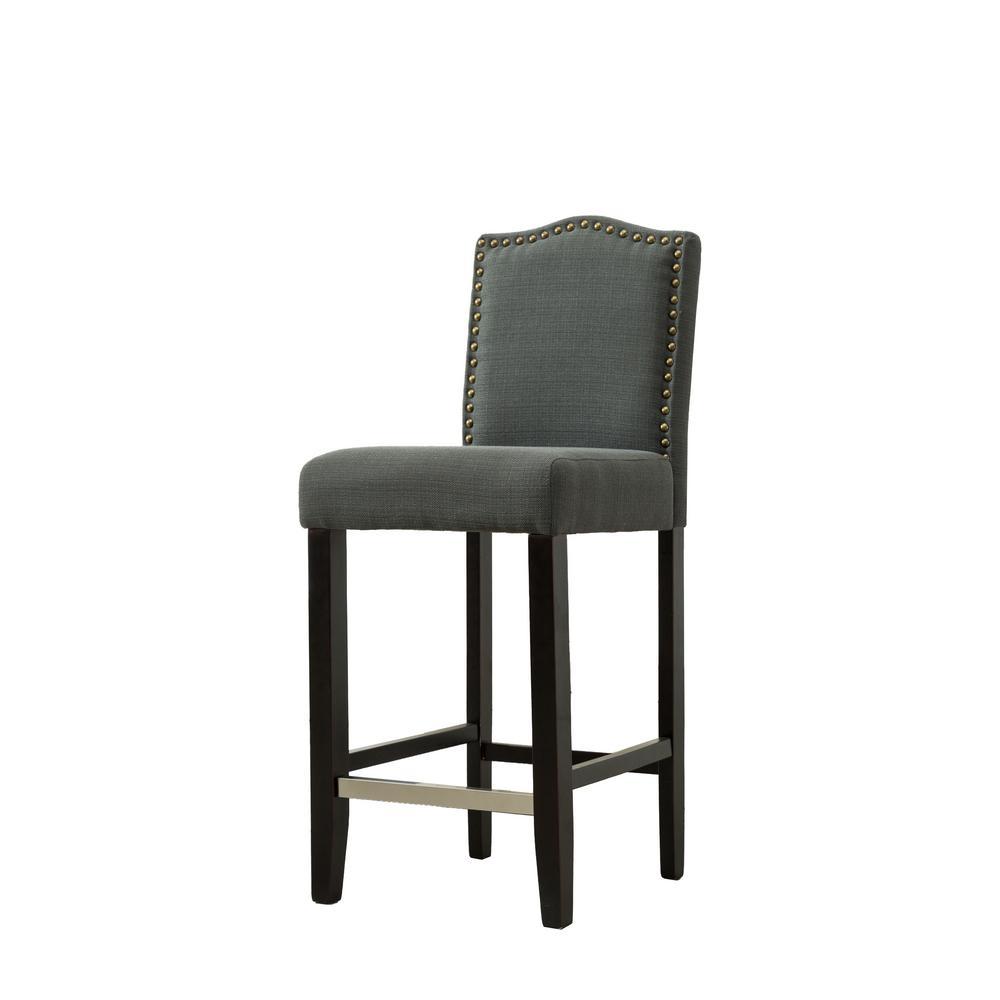 29 in. Zachory Dark Gray Linen Upholstered Bar Stools (Set of 2)