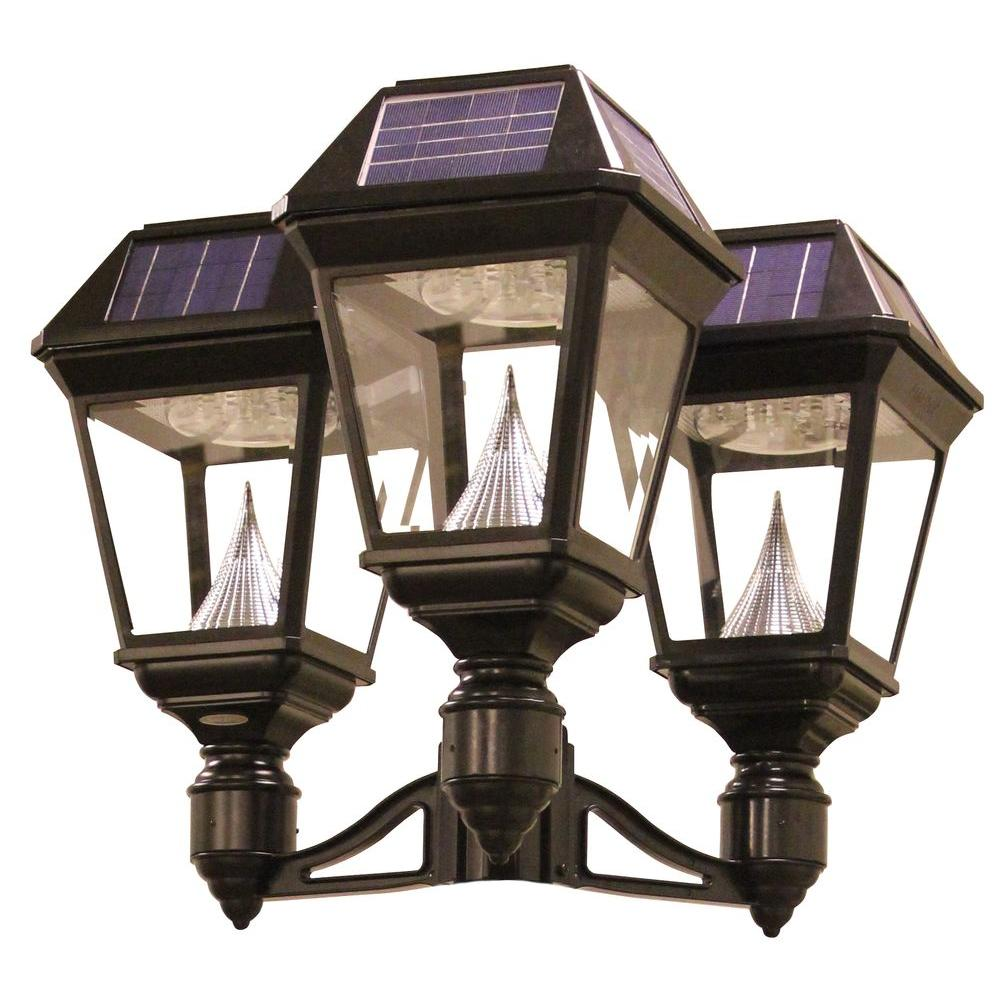 Gama Sonic Imperial Ii 3 Head Solar Black Outdoor Integrated Led Post Light On 3 In Fitter With 21 Bright White Leds Per Lamp Head