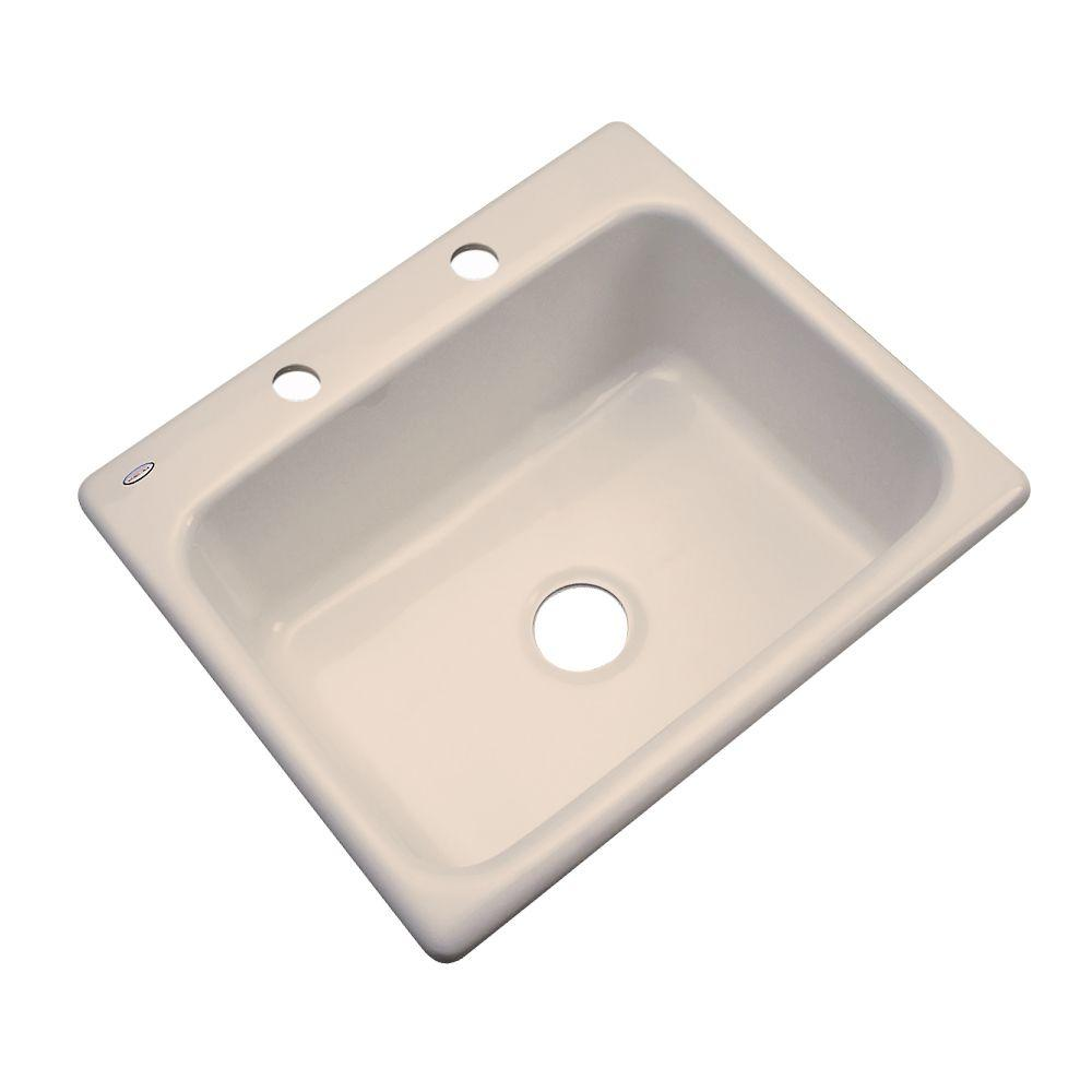 Thermocast Inverness Drop-In Acrylic 25 in. 2-Hole Single Bowl Kitchen Sink in Candle Lyte