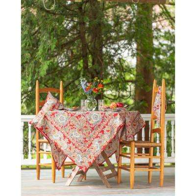 "Rhapsody Red Paisley 88"" Round Tablecloth"