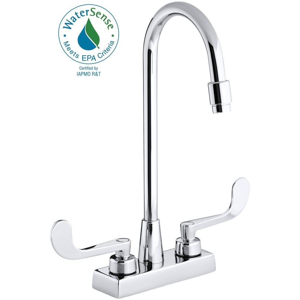 KOHLER Triton 4 in. 2-Handle High-Arc Commercial Bathroom Faucet in Polished Chrome