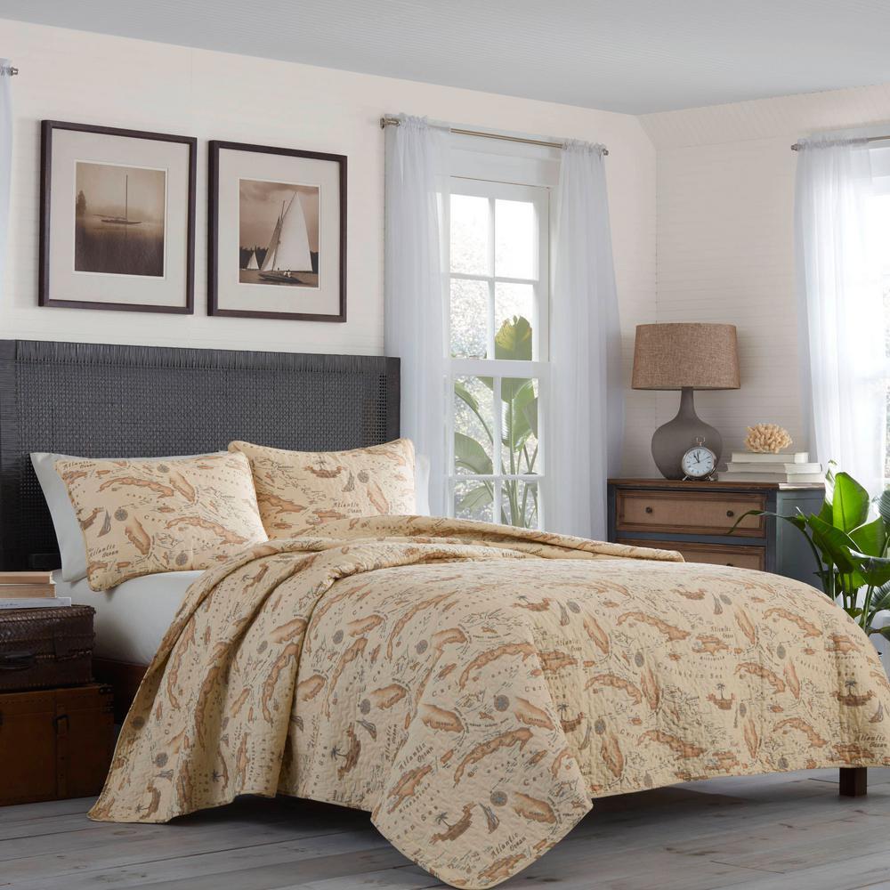 Bahama Map 2-Piece Beige Graphic Cotton Twin Quilt Set