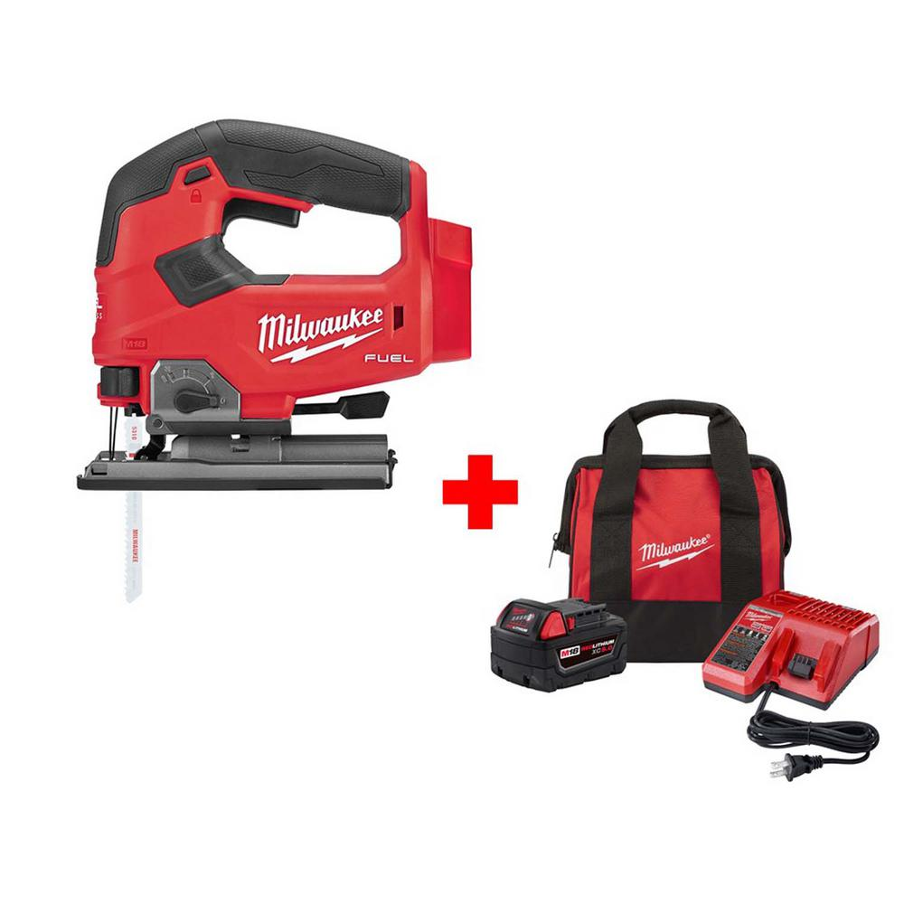 Milwaukee M18 FUEL 18-Volt Lithium-Ion Brushless Cordless Jig Saw with One 5.0 Ah Battery, Charger and Bag