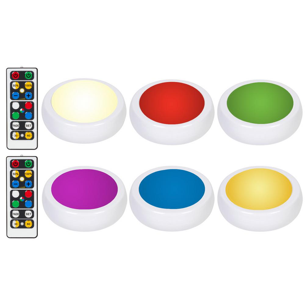 RGB Color Changing Puck Light with Remote Control Other Home Lighting Equipment Closet Lights light pull