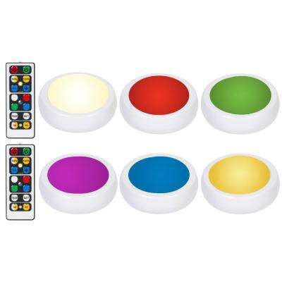 LED White RGB Color Changing Puck Light with 2 Remotes (6-Pack)