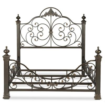 Baroque Gilden Slate Queen Complete Bed with Massive Cast Metal Grills and Decorated Sloping Side Rails