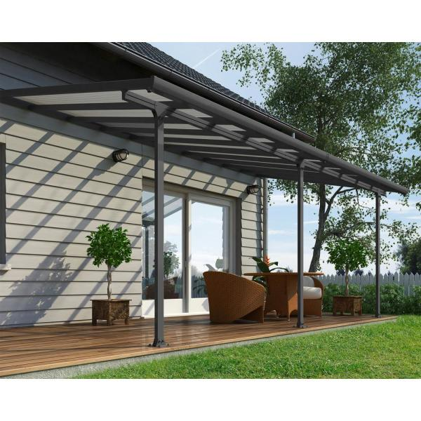 Palram Feria 10 Ft X 20 Ft Grey Patio Cover Awning 702739 The Home Depot