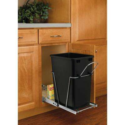 19.25 in. H x 10.62 in. W x 22 in. D Single 35 Qt. Pull-Out Black and Chrome Waste Container with Rear Basket