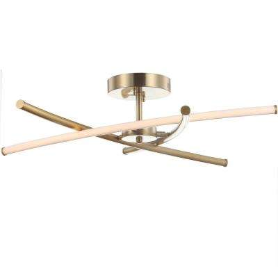 Crucis 31.5 in. Integrated LED Gold Modern Metal Pendant