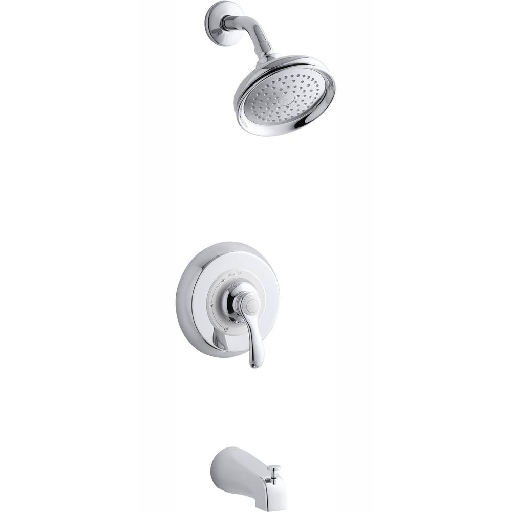 KOHLER Fairfax 1-Handle 1-Spray Tub and Shower Faucet with Lever and Slip-Fit Spout in Polished Chrome (Valve Not Included)