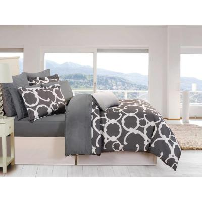 Rhys 10-Piece Grey Queen Bed in a Bag Set