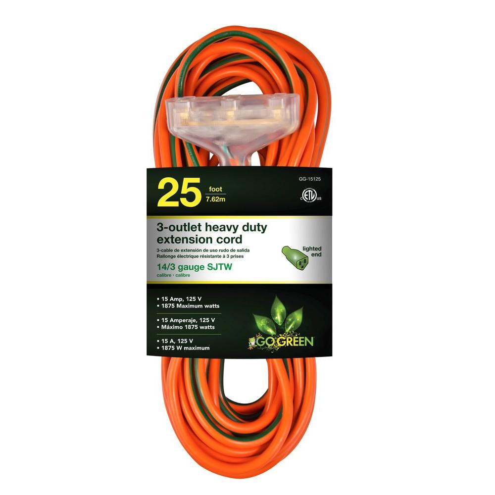 Go Green Power 25 ft. 3-Outlet 14/3 Heavy Duty Extension Cord - Orange