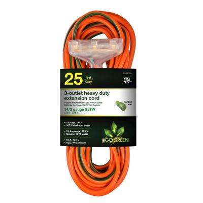 25 ft. 3-Outlet 14/3 Heavy Duty Extension Cord - Orange