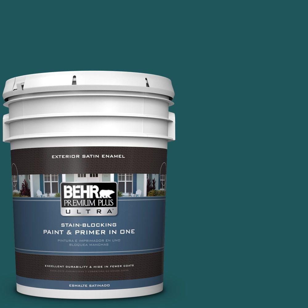 BEHR Premium Plus Ultra 5-gal. #PPF-56 Terrace Teal Satin Enamel Exterior Paint