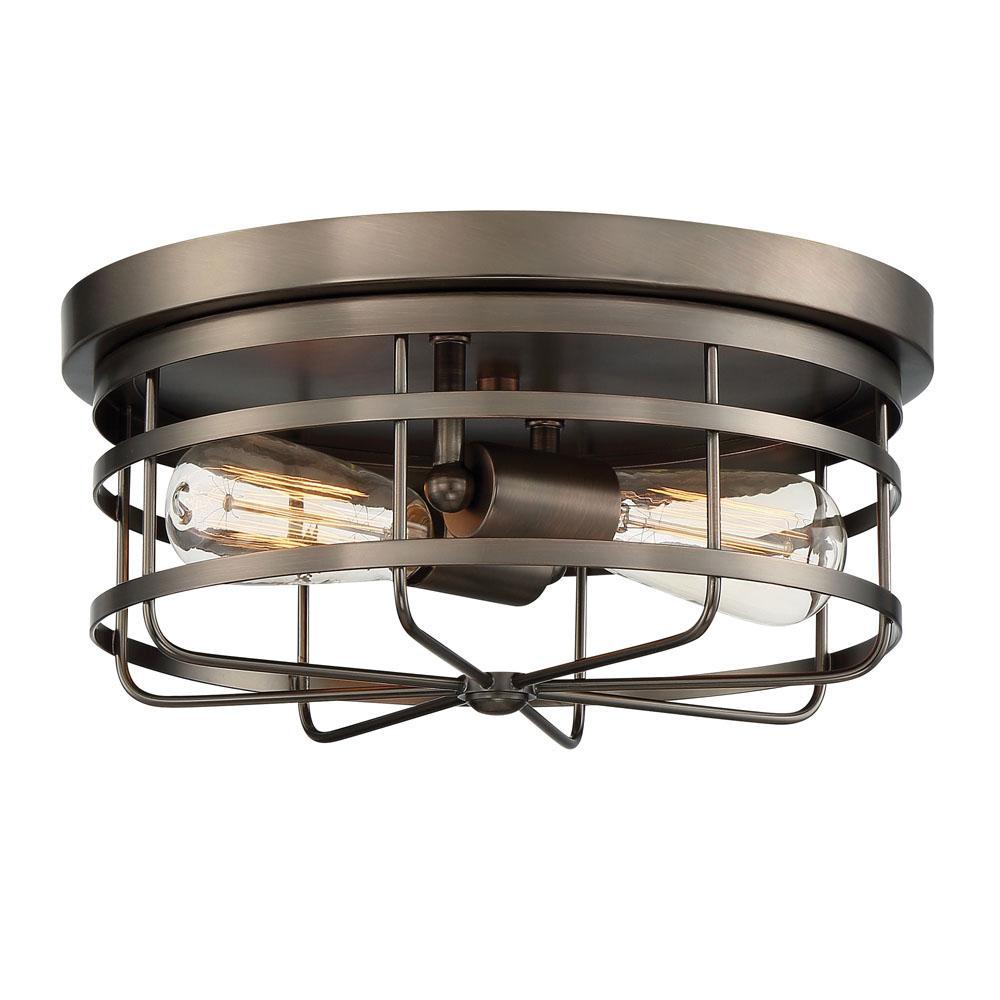 Anson 2-Light Satin Copper Bronze Interior Flushmount