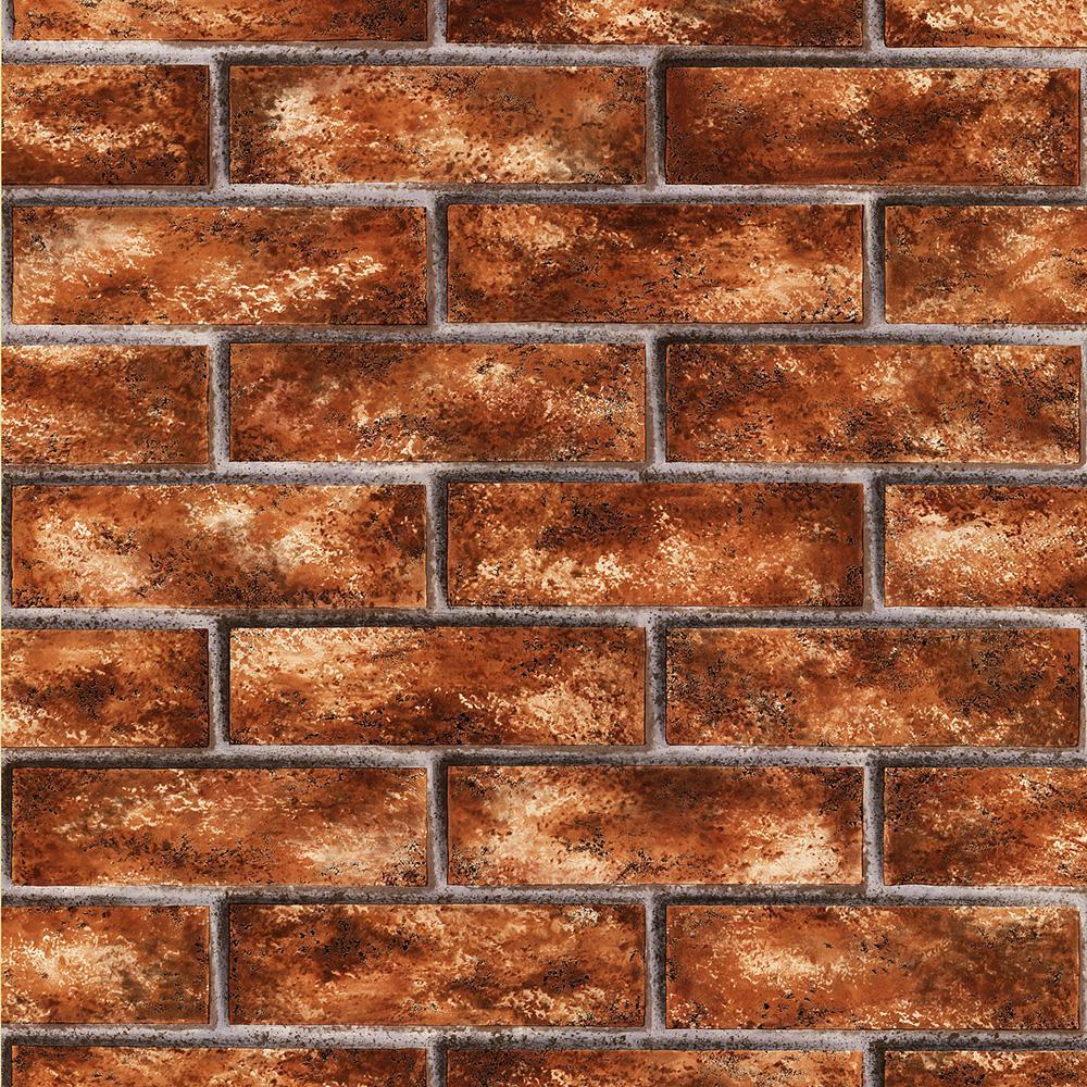 Brewster 8 in. x 10 in. Urbania Brick Red Brick Texture