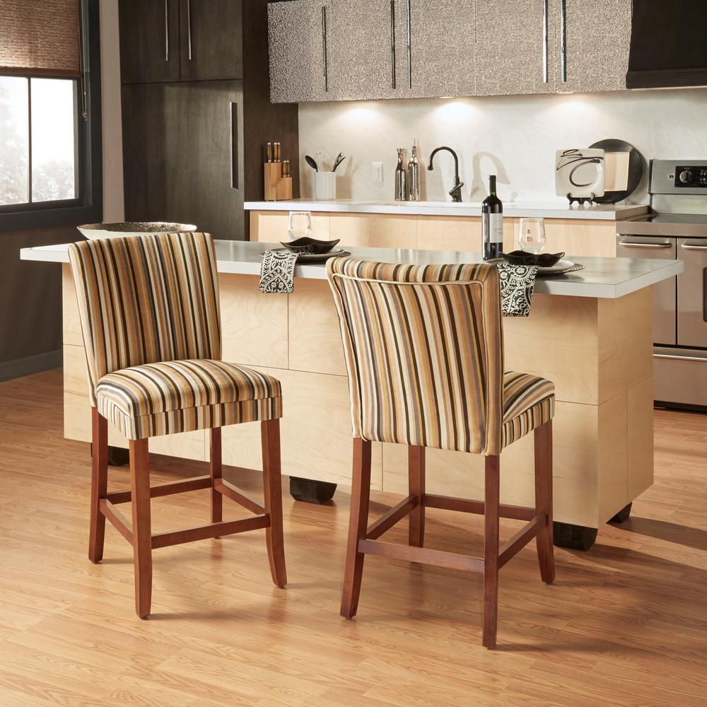 Home Decorators Collection 24 in. H Striped Upholstered Bar Stools (Set of 2)