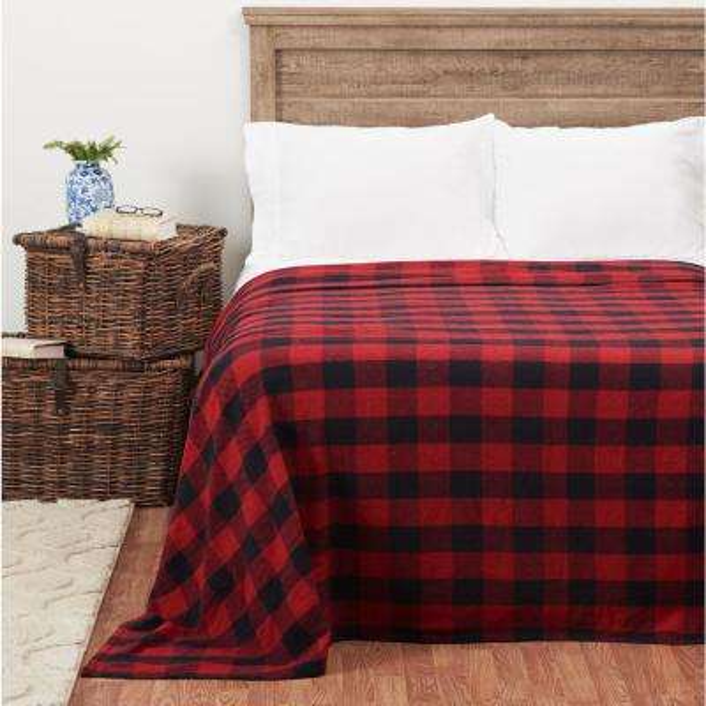 Franklin Black/Red Cotton Queen Blanket