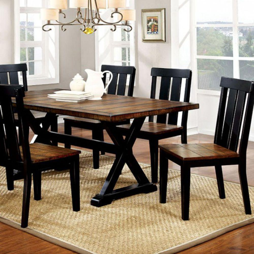 Alana Transitional 30 in. H Antiqued Oak and Black Finish Plank Style Dining Table