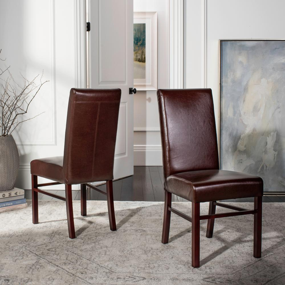 Safavieh brown leather dining chair set of 2