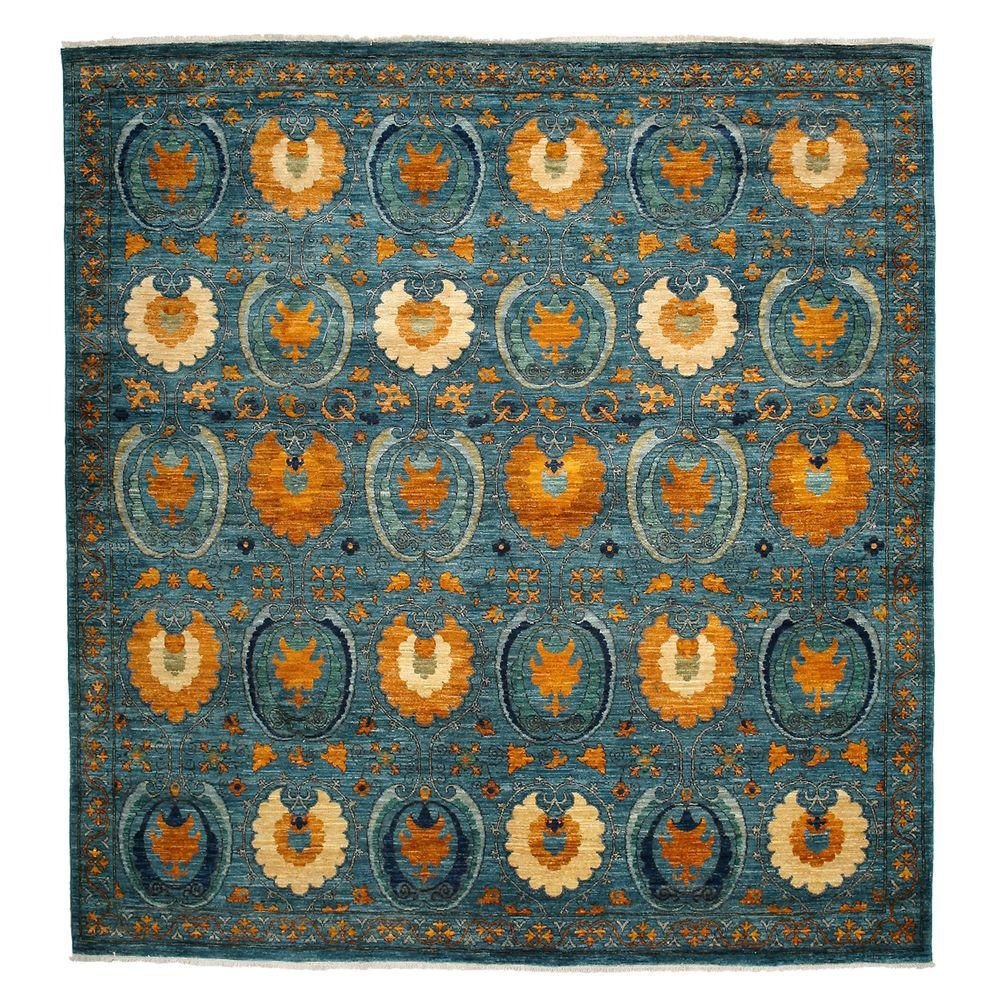 Darya Rugs Suzani Blue 8 ft. 4 in. x 8 ft. 4 in. Square Indoor Area Rug
