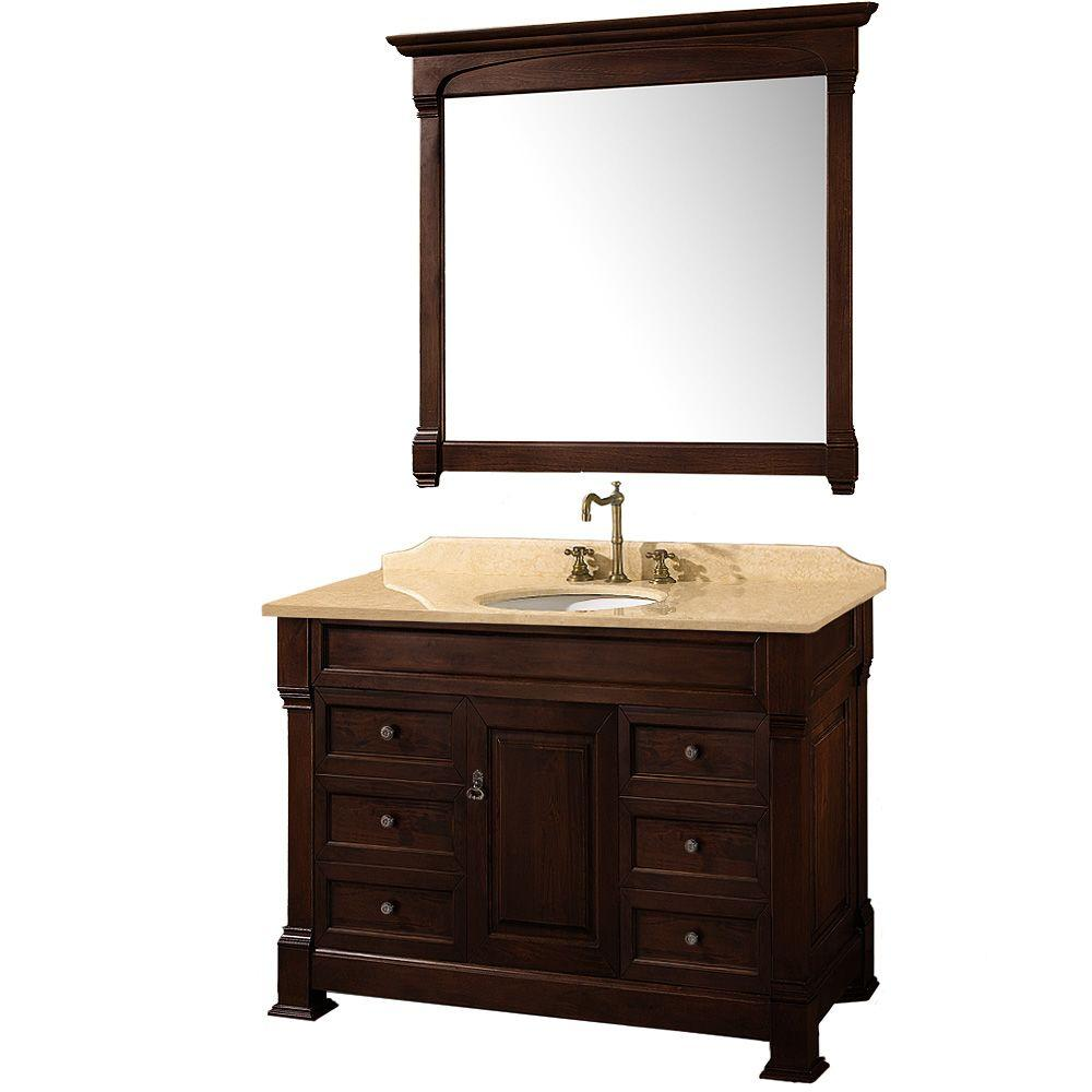 Wyndham Collection Andover 48 in. Vanity in Dark Cherry with Marble Vanity Top in Ivory and Mirror