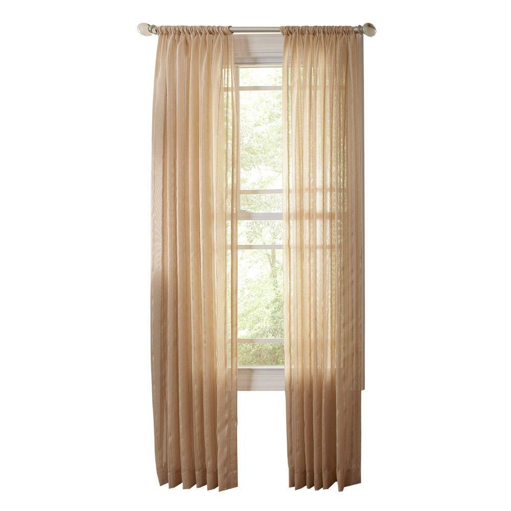 Sheer Brown Alpaca Sheer Stripe Rod Pocket Curtain (Price Varies by Size)
