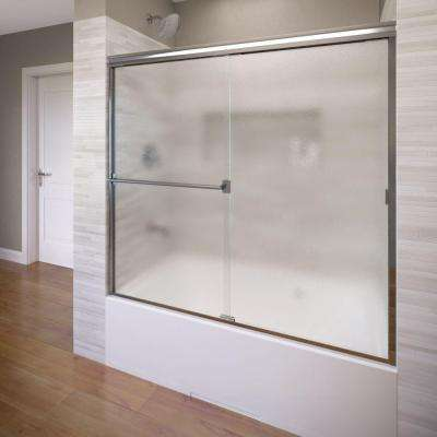 Classic 60 in. x 57 in. Obscure Semi-Framed Sliding Door in Silver