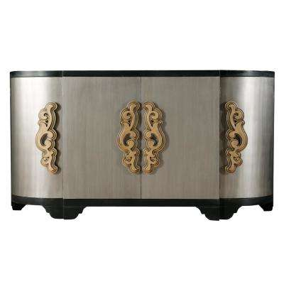2-Tone Black and Silver Breakfront 4-Door Credenza
