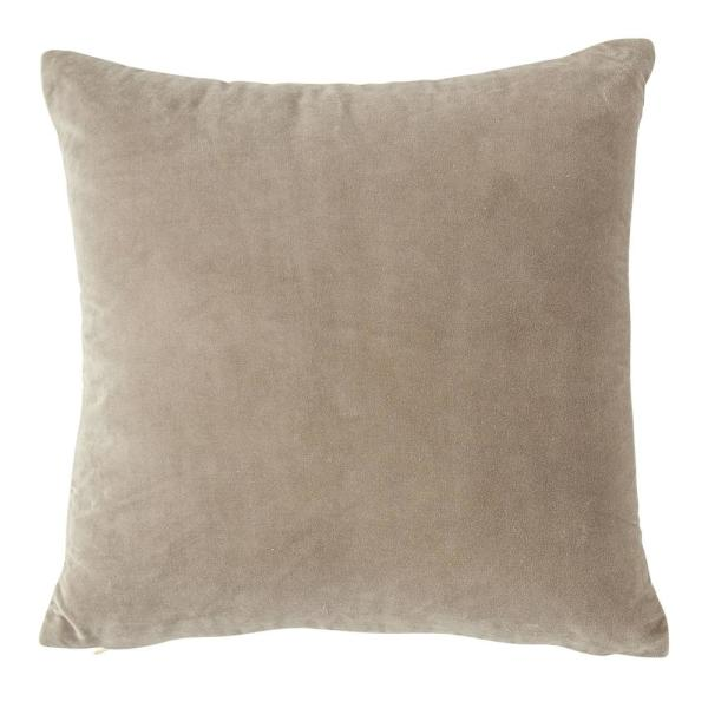 Grey Solid Cotton Velvet 20 in. x 20 in. Throw Pillow