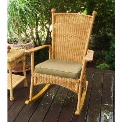 Portside Classic Outdoor Rocking Chair Amber Wicker with Tan Cushion