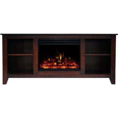 Santa Monica 63 in. Electric Fireplace Heater TV Stand in Mahogany with Enhanced Log Display and Remote