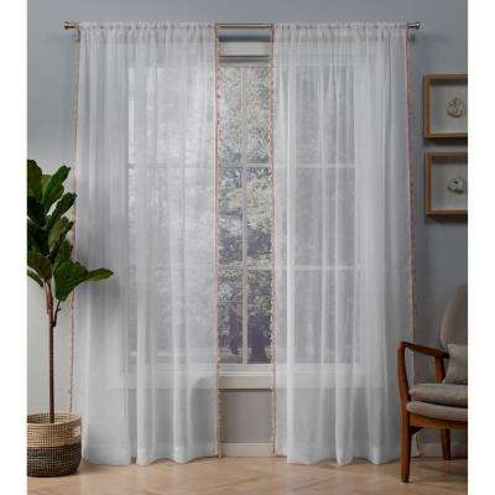 Tassels 54 in. W x 84 in. L Sheer Rod Pocket Top Curtain Panel in Blush (2 Panels)