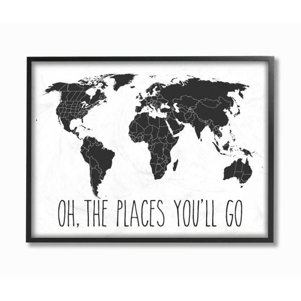 Stupell Industries 24 In X 30 In Quot Black And White Map Oh