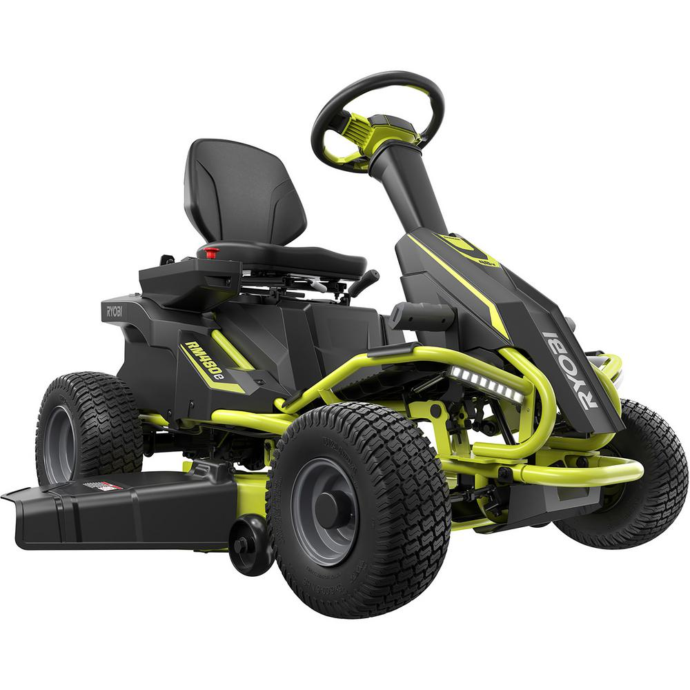 Ryobi 38 In 75 Ah Battery Electric Rear Engine Riding Lawn Mower Ry48110 The Home Depot