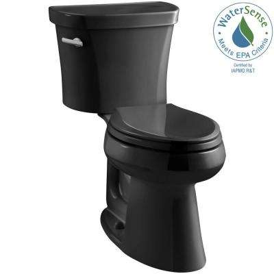 Highline 14 in. Rough-In 2-piece 1.28 GPF Single Flush Elongated Toilet in Black