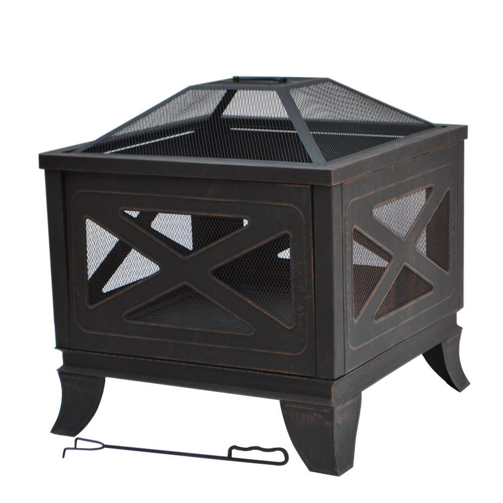 Steel deep bowl fire pit in antique bronze with x decoration