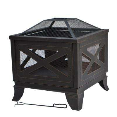 26 in. Steel Deep Bowl Fire Pit in Antique Bronze with X-Decoration