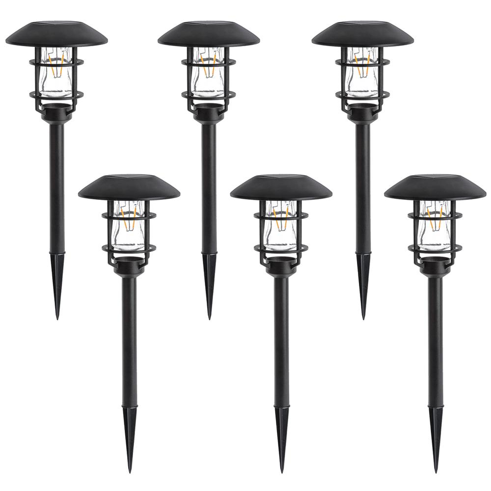 Solar Black Outdoor Landscape Pathlight with V-Filament LED light (6-Pack)